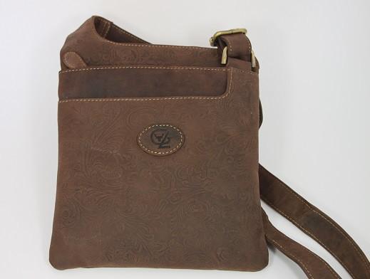 T126-H - Mittlere Handtasche / Sidebag aus Büffelleder mit Blumenornament