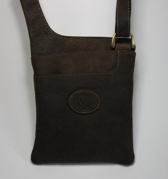 T116H – Kleine Handtasche, pflanzlich gegerbt aus Büffelleder mit Blumenornament