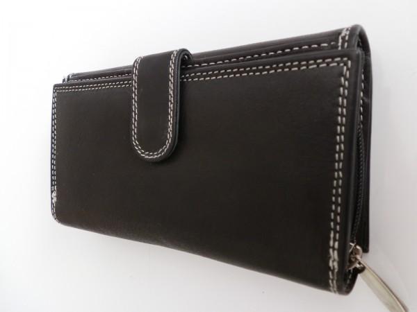 100 - Damenbörse lang, schwarz mit Reißverschluss und Riegel