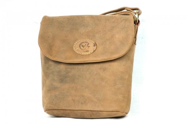T115-H - Mittlere Handtasche, runder halber Überschlag aus Büffelleder